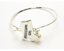 Silver Mississippi Girl State Map Bangle