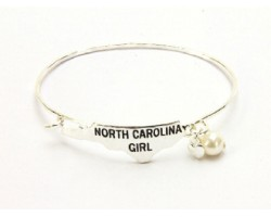 Silver North Carolina Girl State Map Bangle