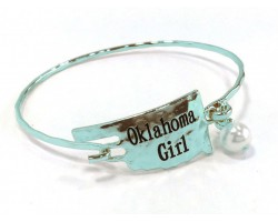 Silver Oklahoma Girl State Map Bangle