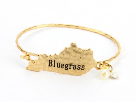 Gold Bluegrass Kentucky State Map Bangle