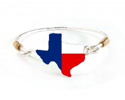 Red White Blue Texas State Map Silver Bangle