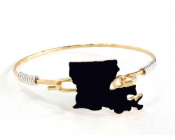 Black Gold Louisiana State Map Bangle