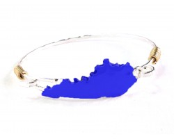 Blue Kentucky State Map Silver Bangle