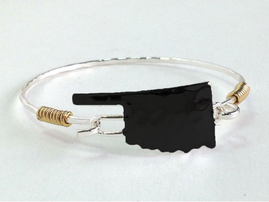 Black Oklahoma State Map Silver Bangle