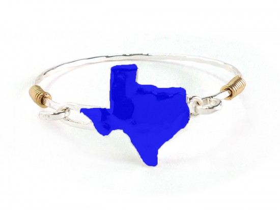 Blue Texas State Map Silver Bangle