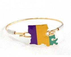 Mardi Gras Louisiana State Map Bangle
