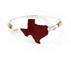 Maroon Texas State Map Silver Bangle