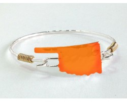 Orange Oklahoma State Map Silver Bangle