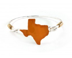 Orange Texas State Map Silver Bangle