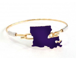 Purple Gold Louisiana State Map Bangle