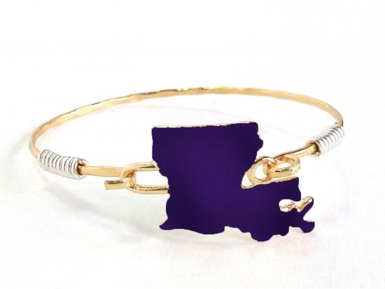 Purple Gold Louisiana State Map Bangle