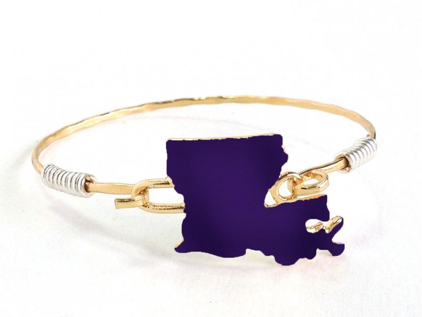 Purple State Map.Purple Gold Louisiana State Map Bangle Az29067pg La