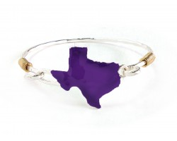 Purple Texas State Map Silver Bangle