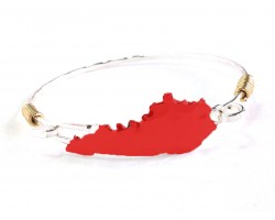 Red Kentucky State Map Silver Bangle
