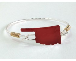 Red Oklahoma State Map Silver Bangle