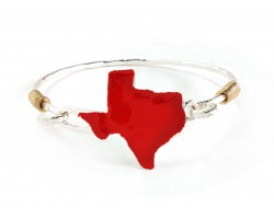 Red Texas State Map Silver Bangle