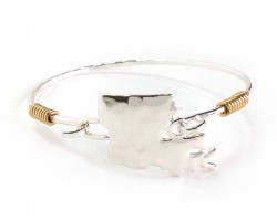 Silver Louisiana State Map Bangle