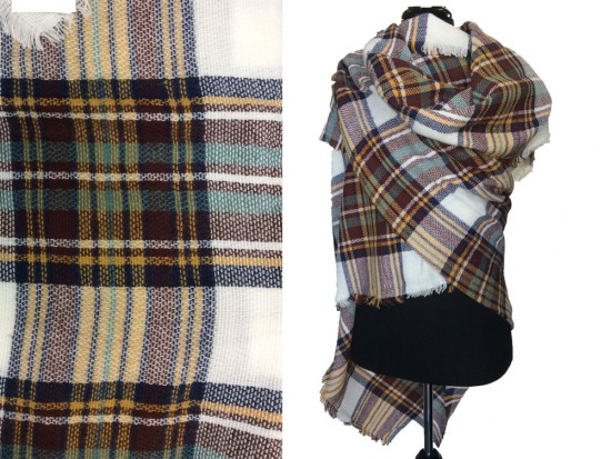 Brown Green White Plaid Fringe Blanket Scarf