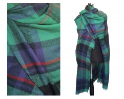 Green Navy Plaid Fringe Blanket Scarf