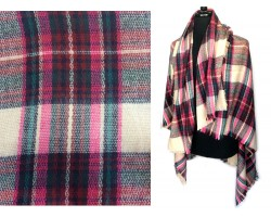 Pink Beige Plaid Fringe Blanket Scarf