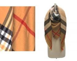 Brown Plaid Burberry Fringe Blanket Scarf