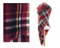 Maroon Beige Plaid Fringe Blanket Scarf