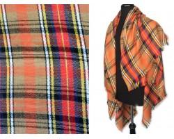 Orange Plaid Fringe Blanket Scarf