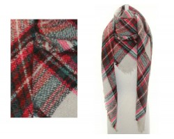 Pink Red Beige Plaid Fringe Blanket Scarf