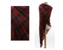 Red Black Plaid Fringe Blanket Scarf