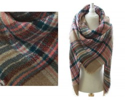 Red Beige Green Plaid Fringe Blanket Scarf