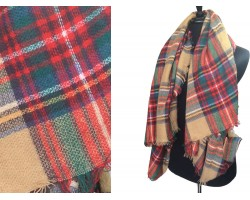 Red Green Plaid Fringe Blanket Scarf
