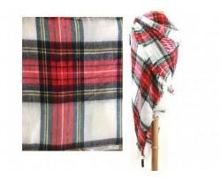 Red Green White Plaid Fringe Blanket Scarf