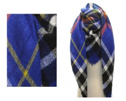 Blue Black White Plaid Fringe Blanket Scarf