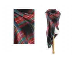 Black Red Green Plaid Fringe Blanket Scarf