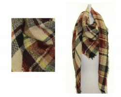 Brown Black Plaid Fringe Blanket Scarf