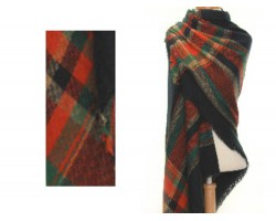 Black Red Green Plaid Fringe Blanket Scarf