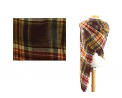 Brown Gold Red Beige Plaid Fringe Blanket Scarf