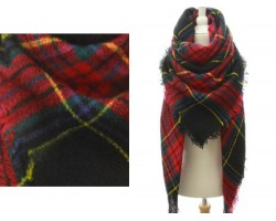 Black Red Yellow Plaid Fringe Blanket Scarf