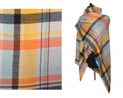 Orange Gray Yellow Black Plaid Fringe Blanket Scarf