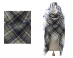 Gray Beige Blue Plaid Fringe Blanket Scarf