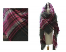 Hot Pink Gray Plaid Fringe Blanket Scarf