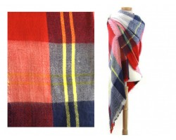 Navy Red Beige Plaid Fringe Blanket Scarf