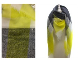 Yellow Grey Green Plaid Fringe Blanket Scarf