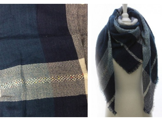 Navy Gray Large Plaid Fringed Blanket Scarf