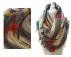 Beige Gray RedPlaid Blanket Infinity Scarf