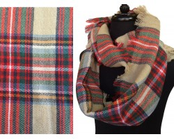 Red Beige Plaid Blanket Infinity Scarf