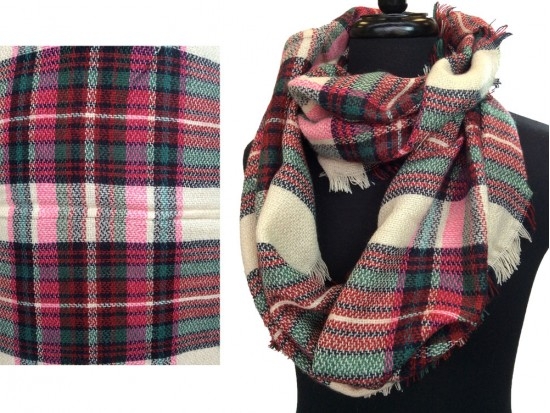 Hot Pink Red Beige Plaid Blanket Infinity Scarf
