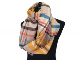 Gray Orange Black Plaid Blanket Infinity Scarf