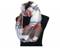 Light Blue White Red Plaid Blanket Infinity Scarf