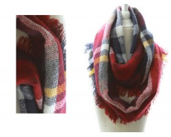 Maroon Gray Yellow Plaid Blanket Infinity Scarf